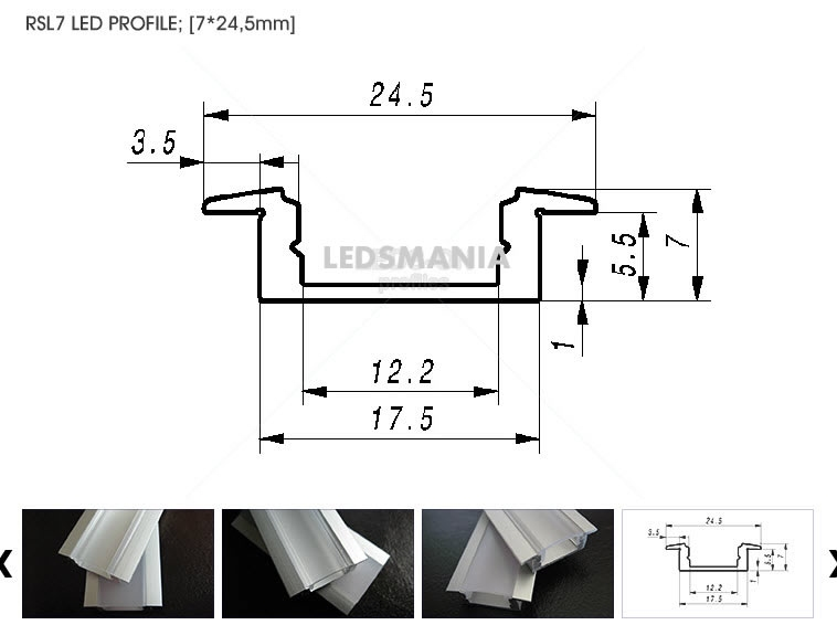 Led profiel SlimLine 24,5 mm inbouw  200 cm