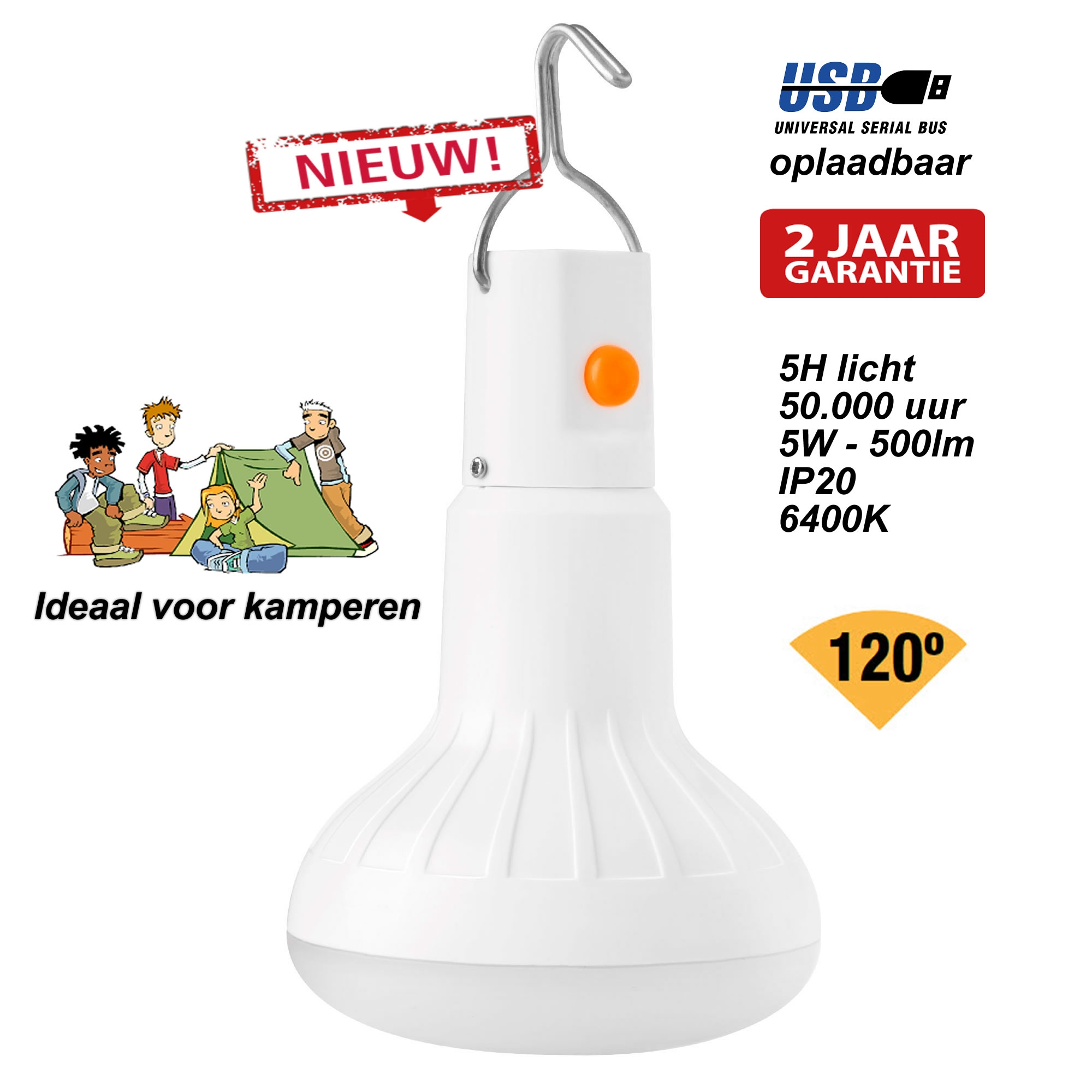 LED lamp voor in de tent - LED 5W oplaadbaar